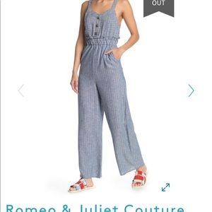 Button Front Linen Jumpsuit